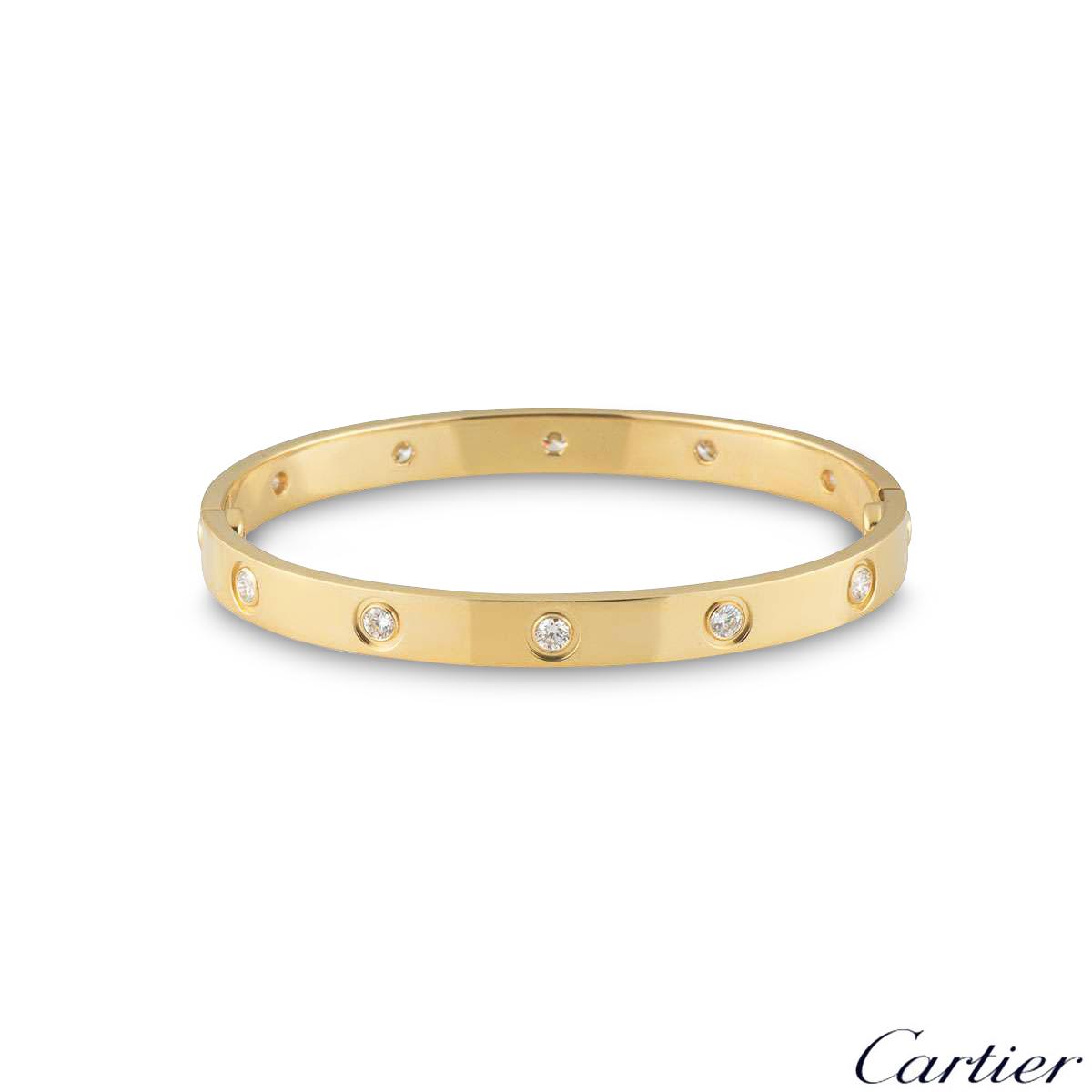 Cartier Yellow Gold Full Diamond Love Bracelet Size 17 B6040517